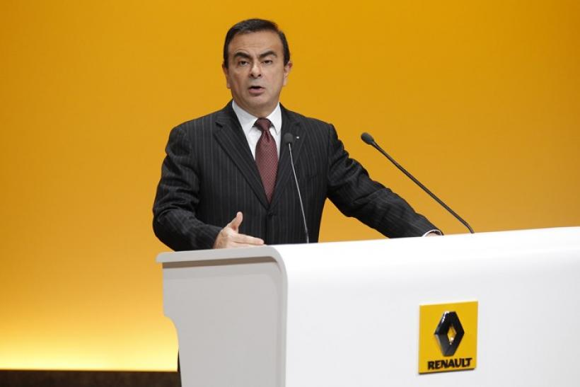 Carlos Ghosn, Chairman and Chief Executive Officer of French carmaker Renault, speaks during a news conference in Boulogne-Billancourt