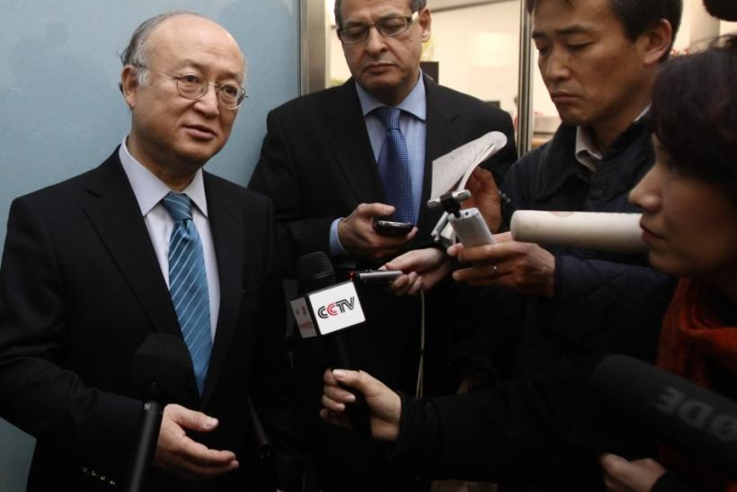 International Atomic Energy Agency IAEA Director General Amano addresses the media at the airport of Vienna
