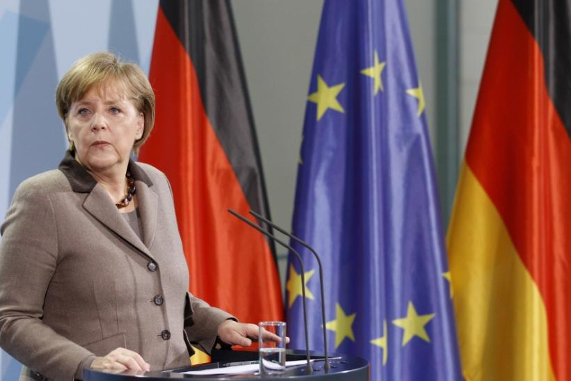 German Chancellor Angela Merkel addresses the media in Berlin, March 18, 2011.