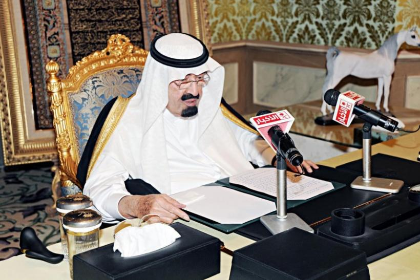 Saudi King Abdullah addresses the nation from his office at the Royal Palace in Riyadh