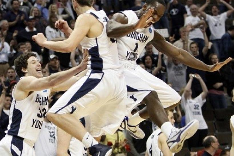 BYU celebrated a victory over Gonzaga