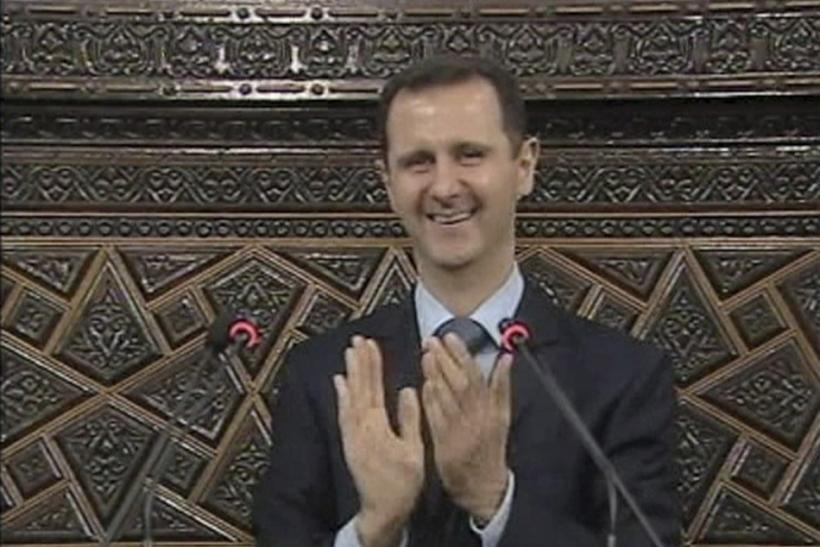 Video grab of Syrian President Bashar Al-Assad addressing the parliament in Damascus