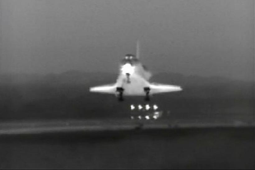 The space shuttle Endeavour lands safely at Kennedy Space Center in this infrared camera image from NASA TV