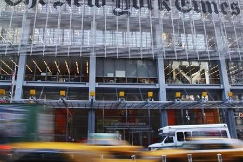 The facade of the New York Times building is seen in New York, November 29, 2010.