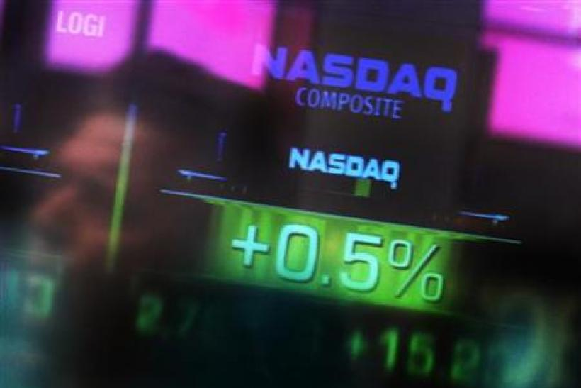 The Nasdaq Composite stock market index is seen inside their studios at Times Square in New York