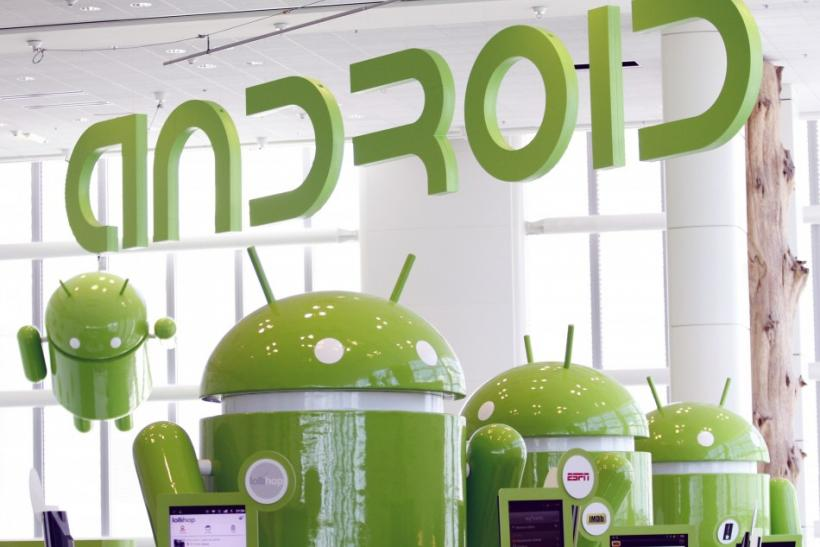 Android mascots are lined up in the demonstration area at the Google I/O Developers Conference in the Moscone Center in San Francisco.