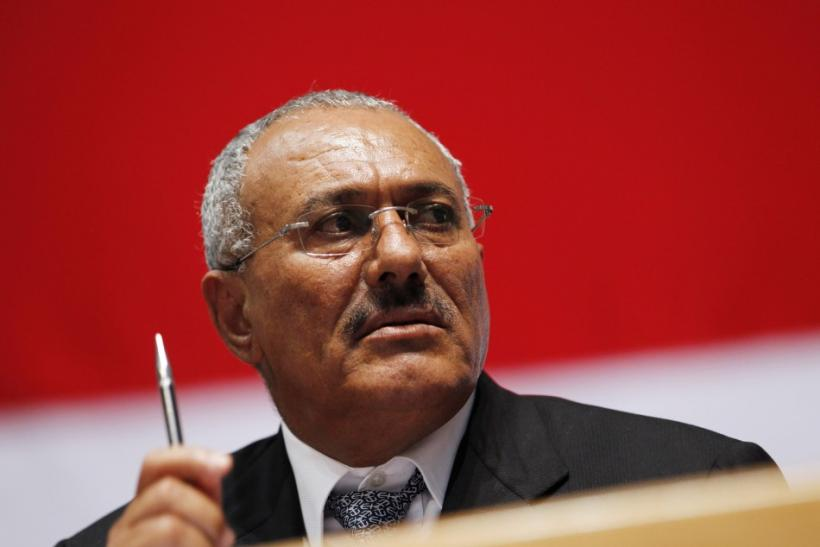 Yemen's President Ali Abdullah Saleh looks on as he attends a gathering of supporters in Sanaa