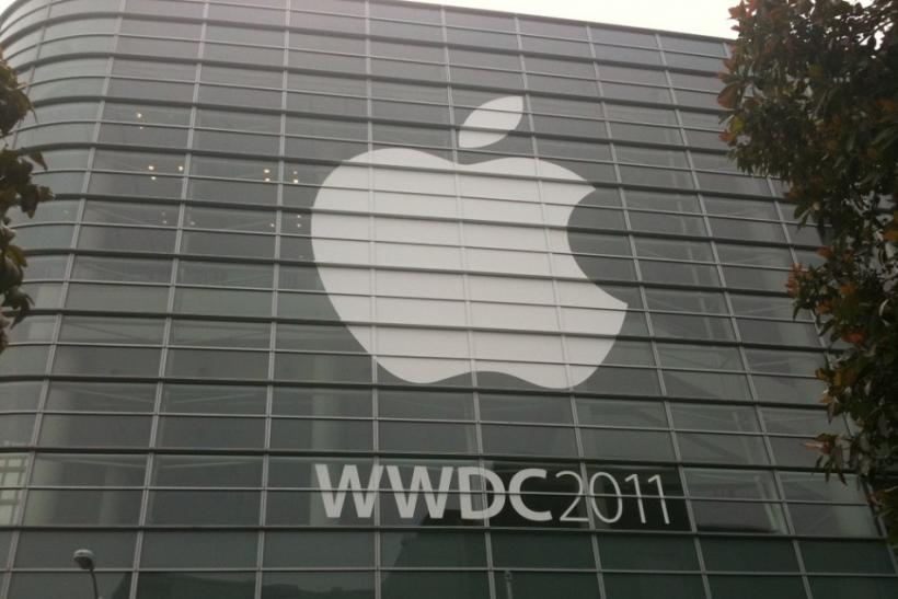 Apple logo is seen on the facade of Moscone Center, San Francisco