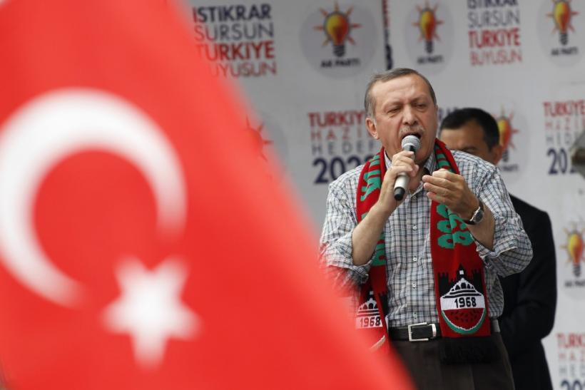Turkey's Prime Minister Erdogan addresses his Justice and Development Party (AKP) supporters during an election rally in Diyarbakir