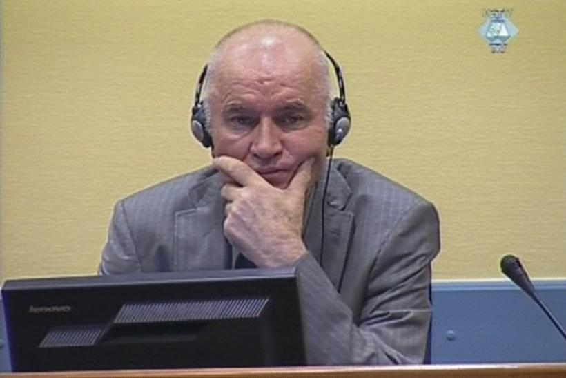 Frame grab of former Bosnian Serb military commander Mladic appearing in court in the Hague