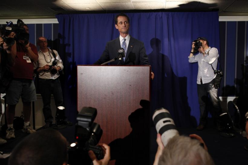 U.S. Congressman Anthony Weiner speaks to the media in New York