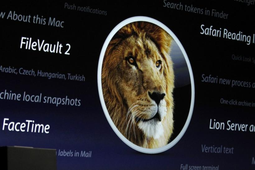 Screen projection of the OS X Lion features is pictured during the Apple Worldwide Developers Conference in San Francisco.