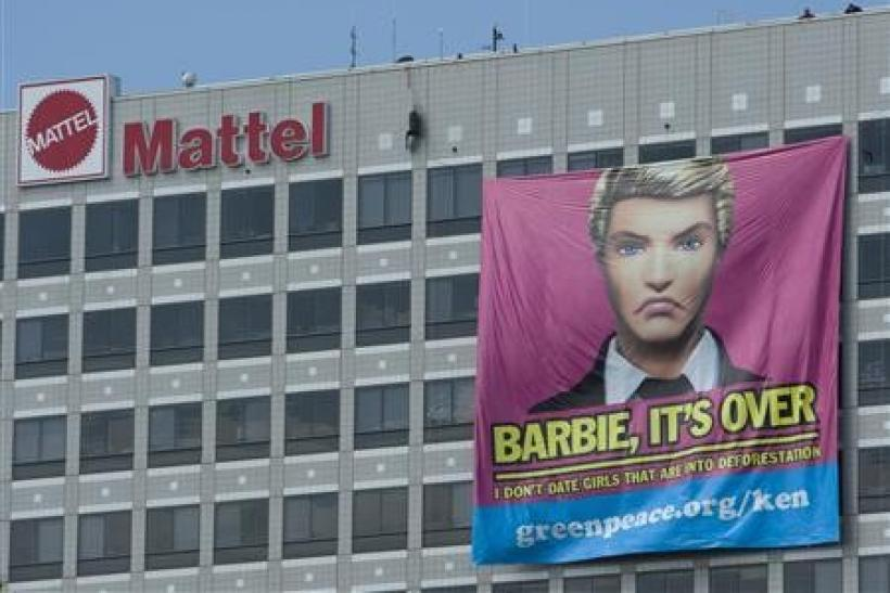 A banner hangs from the Mattel headquarters in El Segundo, California