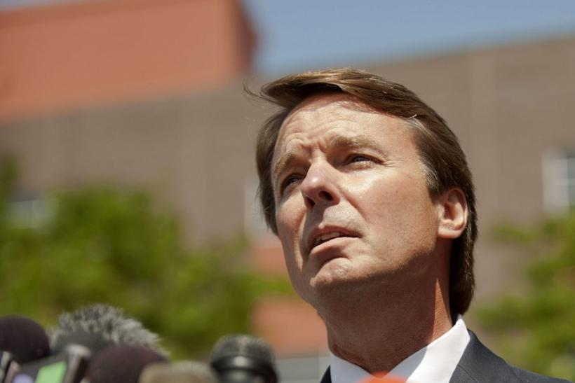 Former U.S. Democratic presidential hopeful Edwards makes a brief statement to the press outside of the U.S. District Court in Winston-Salem North Carolina 03/06/2011
