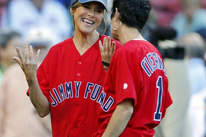 "NBC's ""Today"" show co-host Meredith Vieira (facing camera) speaks with actress Maura Tierney during pre-game ceremonies before the Boston Red Sox take on the Toronto Blue Jays during their MLB American League baseball game at Fenway Park in"