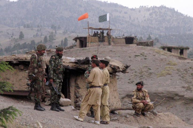 Pakistani soldiers stand near army post in Shawal mountains along Pakistan-Afghanistan border