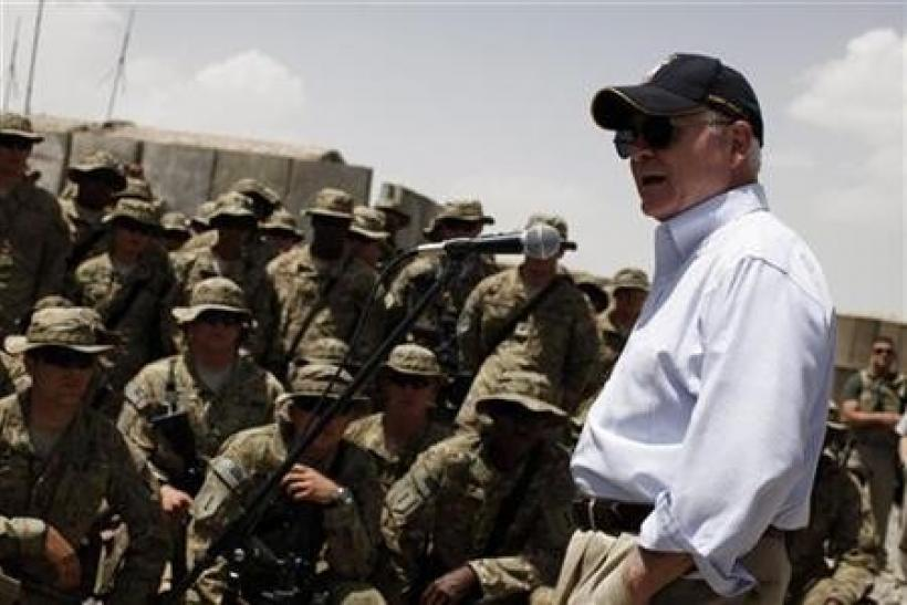 U.S. Secretary of Defense Robert Gates speaks to troops at Combat Outpost Andar in Ghazni Province, Afghanistan,