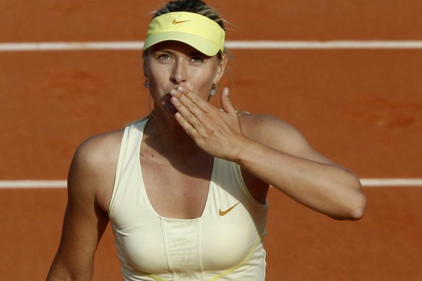 Sharapova of Russia reacts after winning her match against Chan Yung-Jan of Taiwan at the French Open tennis tournament at the Roland Garros stadium in Paris