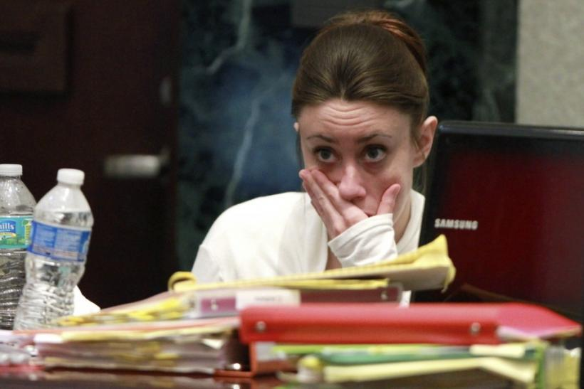 Casey Anthony reacts during testimony at her murder trial at the Orange County Courthouse in Orlando