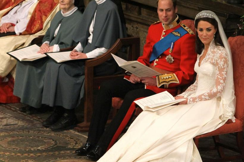 Britain's Prince William and his bride Kate Middleton