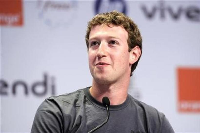 Facebook founder and CEO Mark Zuckerberg attends the eG8 forum in Paris