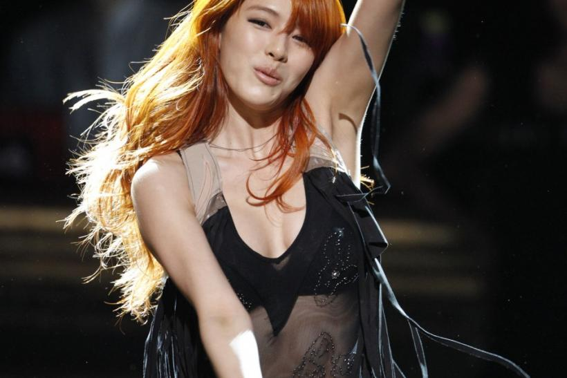 Kahi, a member of South Korean girl group After School, performs at a show of a local TV station in Seoul