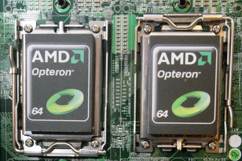 New AMD Opteron 6000 series processors are seen on a motherboard during a product launch in Taipei