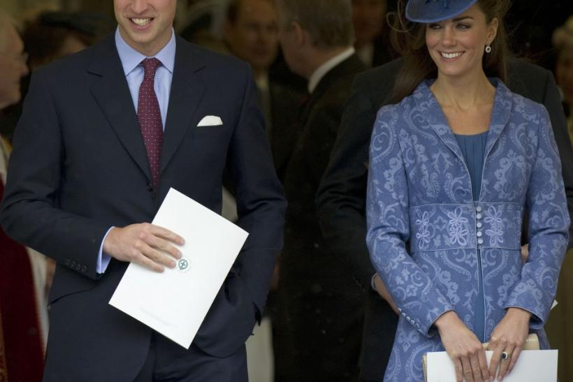 Britain's Prince William and Catherine, Duchess of Cambridge leave St. George?s Chapel, with other members of the royal family, after a service to mark Prince Philip's 90th birthday, in Windsor, west of London June 12, 2011.