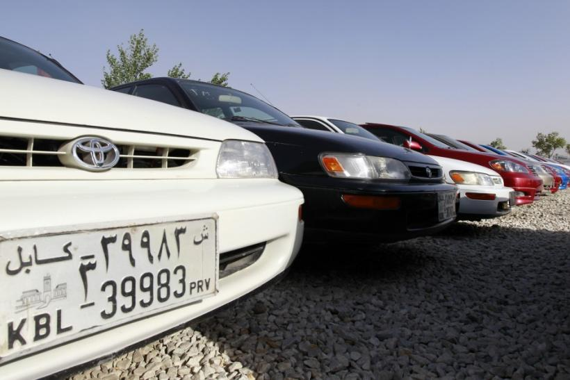 Cars are parked at a car selling lot in Kabul
