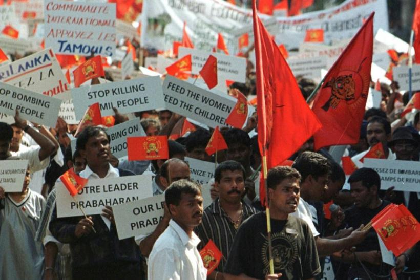 TAMIL DEMONSTRATORS SHOUT SLOGANS AGAINST SRI LANKA IN GENEVA.