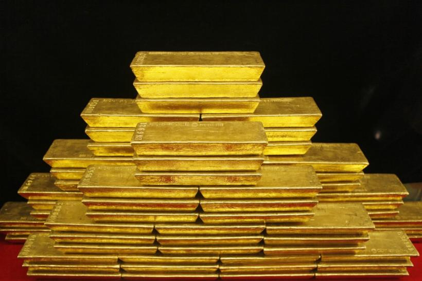 Gold bars are seen in this picture illustration taken at the Czech National Bank in Prague