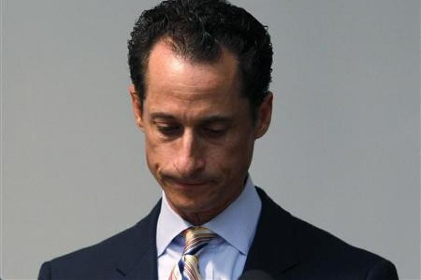 Rep. Anthony Weiner pauses as he announces that he will resign from the United States House of Representatives during a news conference in Brooklyn, June 16, 2011.
