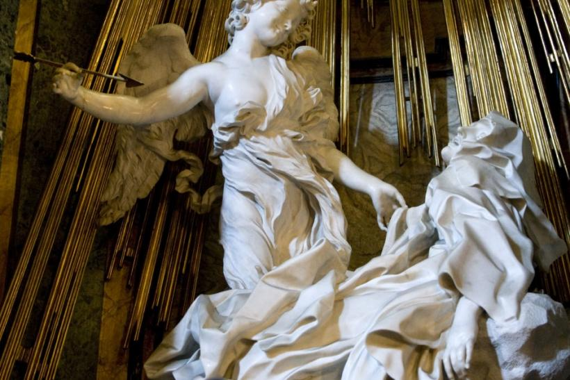 Bernini's sculpture the Ecstasy of St Theresa is seen in Rome