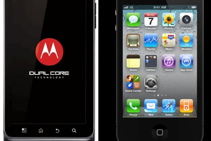 Motorola Droid 3 (left) and iPhone 4