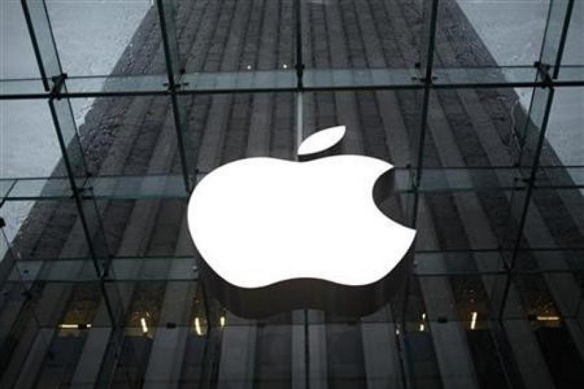 The Apple Inc. logo is seen in the lobby of New York City's flagship Apple store January 18, 2011.