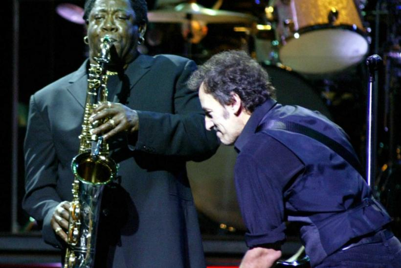 SINGER BRUCE SPRINGSTEEN WITH CLEMONS DURING CONCERT IN MIAMI.
