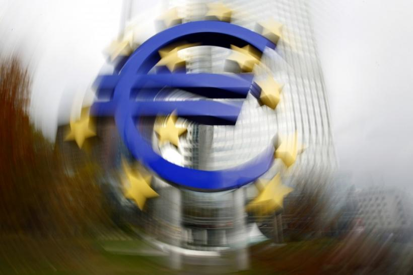 Large euro sign installation is seen in front of the European Central bank headquarters in Frankfurt.