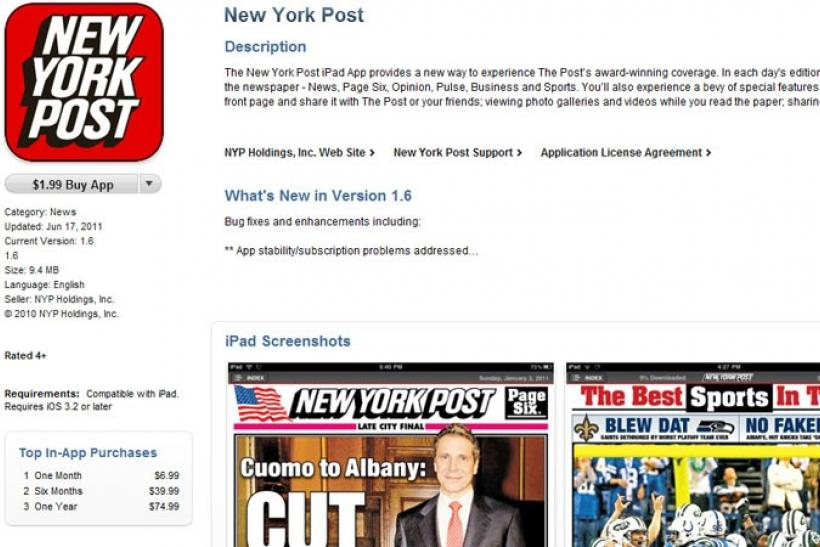 The New York Post app for iPad