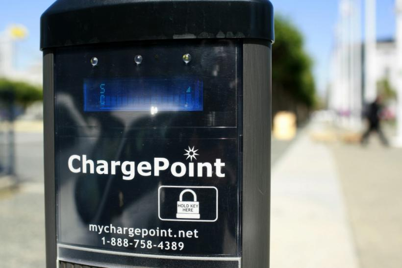 An electric charging station is seen at a municipal charging facility near City Hall in San Francisco