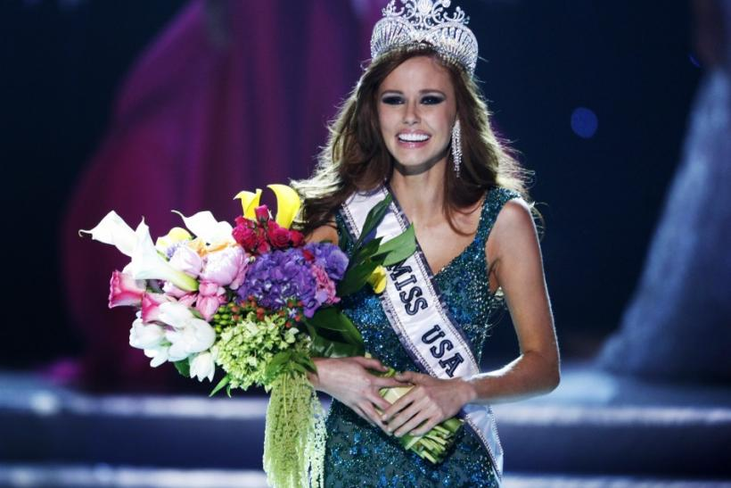 Miss California Alyssa Campanella reacts after being crowned Miss USA during the 2011 Miss USA pageant in the Theatre for the Performing Arts at Planet Hollywood Hotel and Casino in Las Vegas