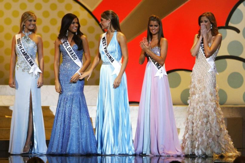 Miss Teen USA 2007 finalists stand on stage at the Pasadena Civic Auditorium in Pasadena