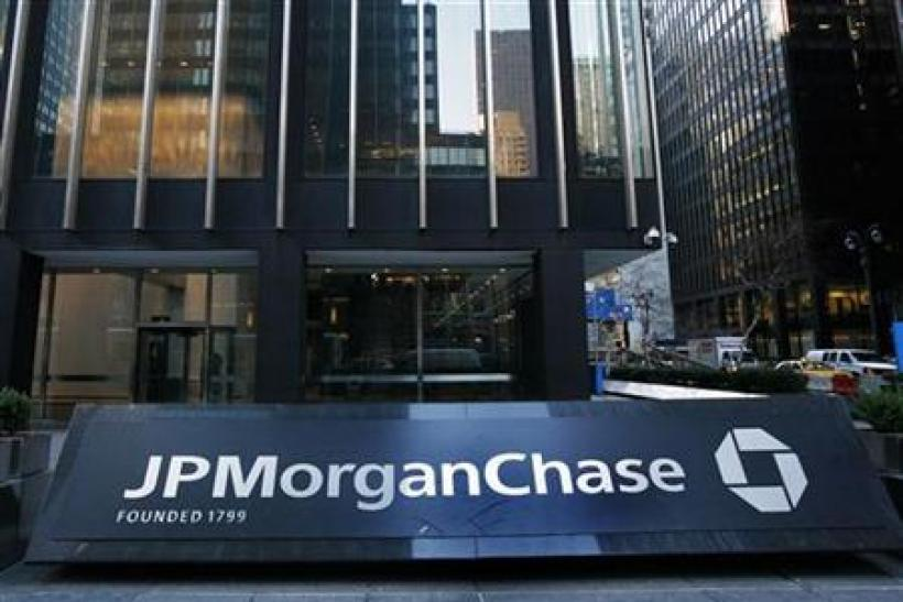 The JP Morgan and Chase headquarters is seen in New York