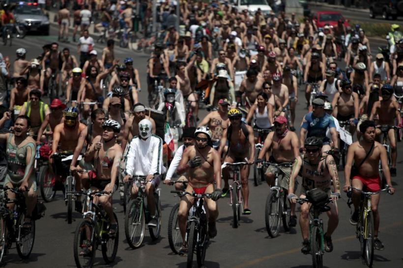 Cyclists ride during the World Naked Bike Ride in Mexico City