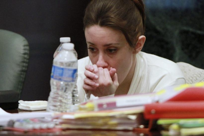 Casey Anthony sits during a break during her murder trial at the Orange County Courthouse in Orlando