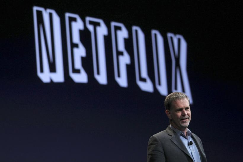 Netflix CEO Reed Hastings speaks during the unveiling of the iPhone 4 by Apple CEO Steve Jobs by in San Francisco