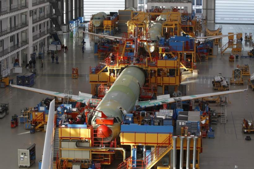 General view of Single Aisle A320 production line at Airbus facility in Finkenwerder near Hamburg