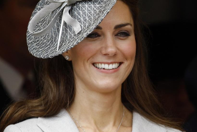Catherine, Duchess of Cambridge watches the procession pass at the Order of The Garter Service in Windsor