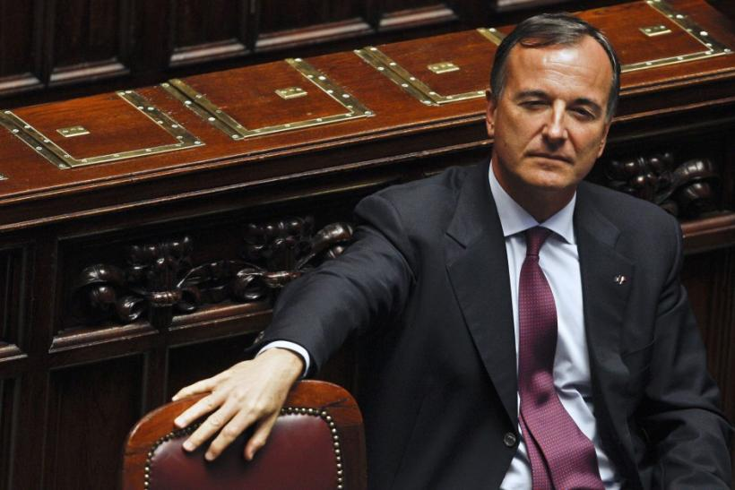 Italian Foreign Minister Franco Frattini looks on during a voting session at the lower chamber of the deputies in Rome