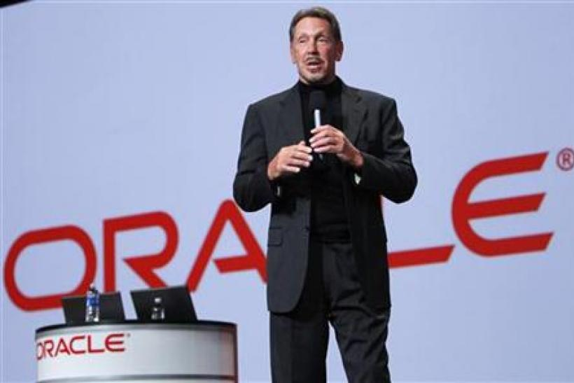 Oracle CEO Larry Ellison talks during his keynote address at Oracle Open World in San Francisco