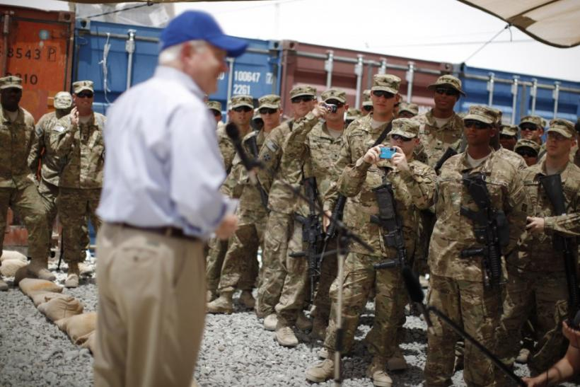 U.S. Secretary of Defense Robert Gates speaks with troops at FOB Walton in Afghanistan